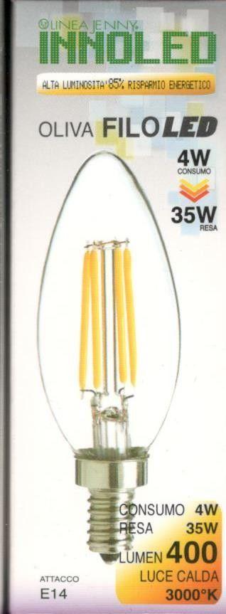 Lampadina FILOLED OLIVA 4w E14 Luce calda 3000K