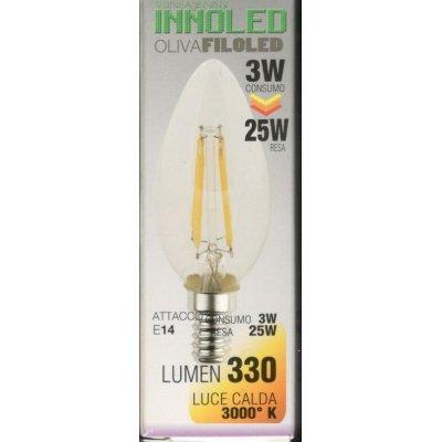 Lampadina FILOLED OLIVA 3w E14 Luce calda 3000K