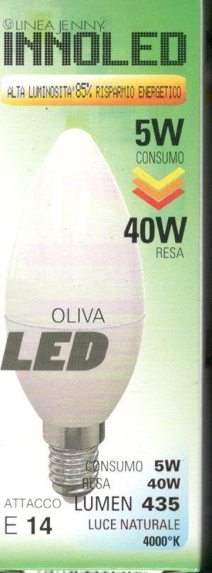 Lampadina LED OLIVA 5w E14 Luce naturale 4000 K