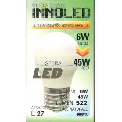 Lampadina LED SFERA 6w E27 Luce naturale 4000 K