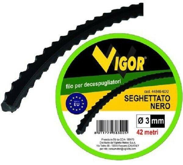Filo per decespugliatori Seghettato nero mm 3 x mt 42 VIGOR