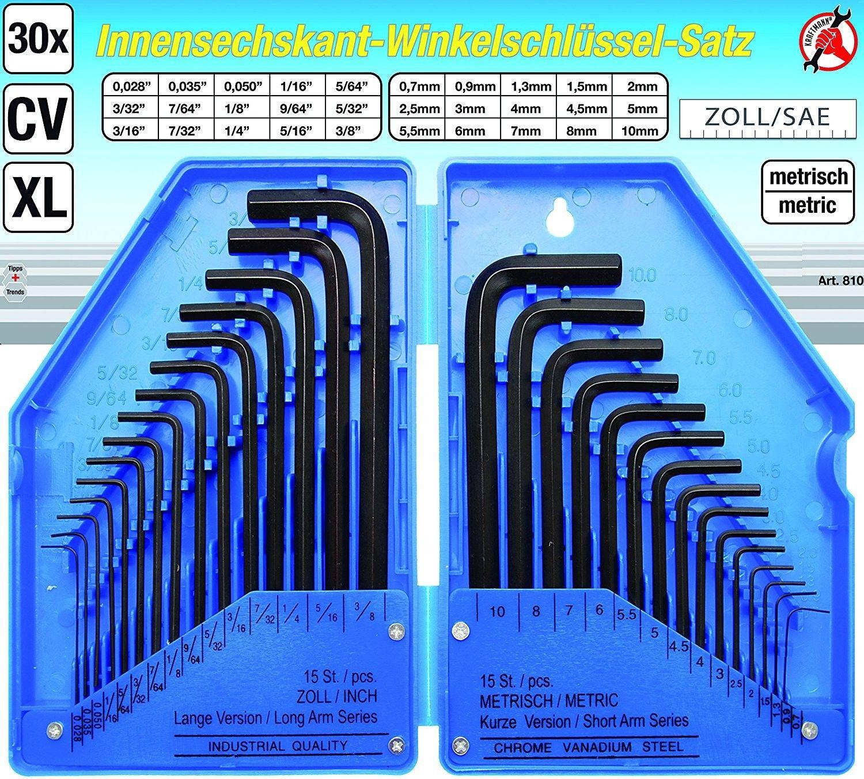 Serie 30 pezzi chiavi a brugola misure millimetri e pollici BGS