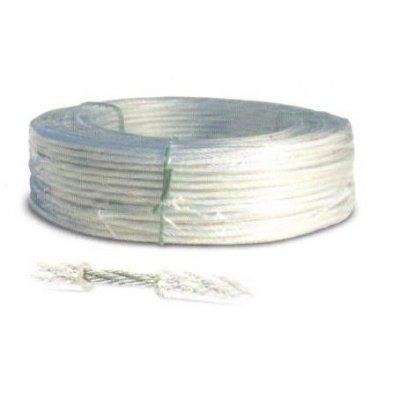 Fune acciaio zincata rivestita PVC trasparente diametro mm 5,0 rotolo mt 100