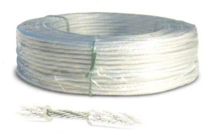Fune acciaio zincata rivestita PVC trasparente diametro mm 4,0 rotolo mt 100