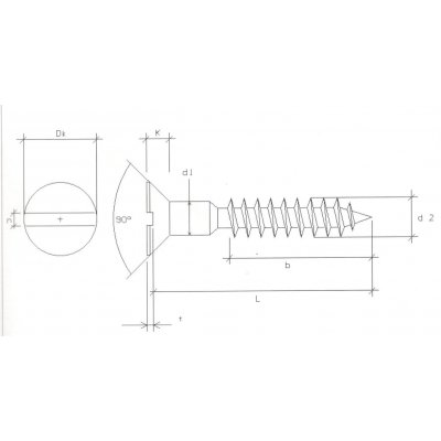 Viti per legno mm 3,5 x 25 in ferro grezzo  T.P.S. taglio cacciavite