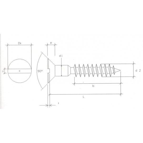 Viti per legno mm 4,0 x 80 in ferro grezzo  T.P.S. taglio cacciavite