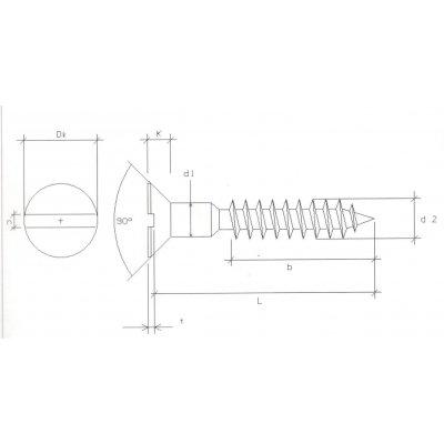 Viti per legno mm 5.0 x 30 in ferro grezzo  T.P.S. taglio cacciavite