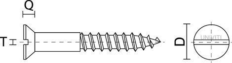 Viti per legno mm 6,0 x 45 in ferro grezzo  T.P.S. taglio cacciavite