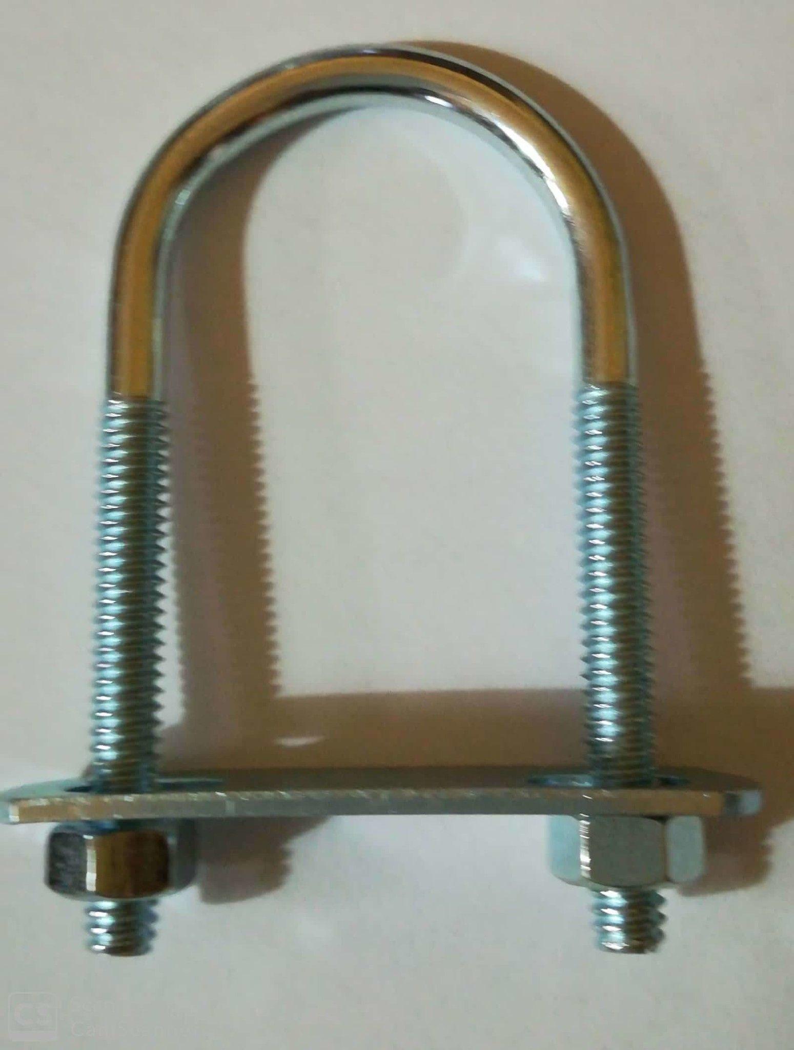 Cavallotto tondo mm 5,4 x 71 con piastra e dadi in ferro zincato