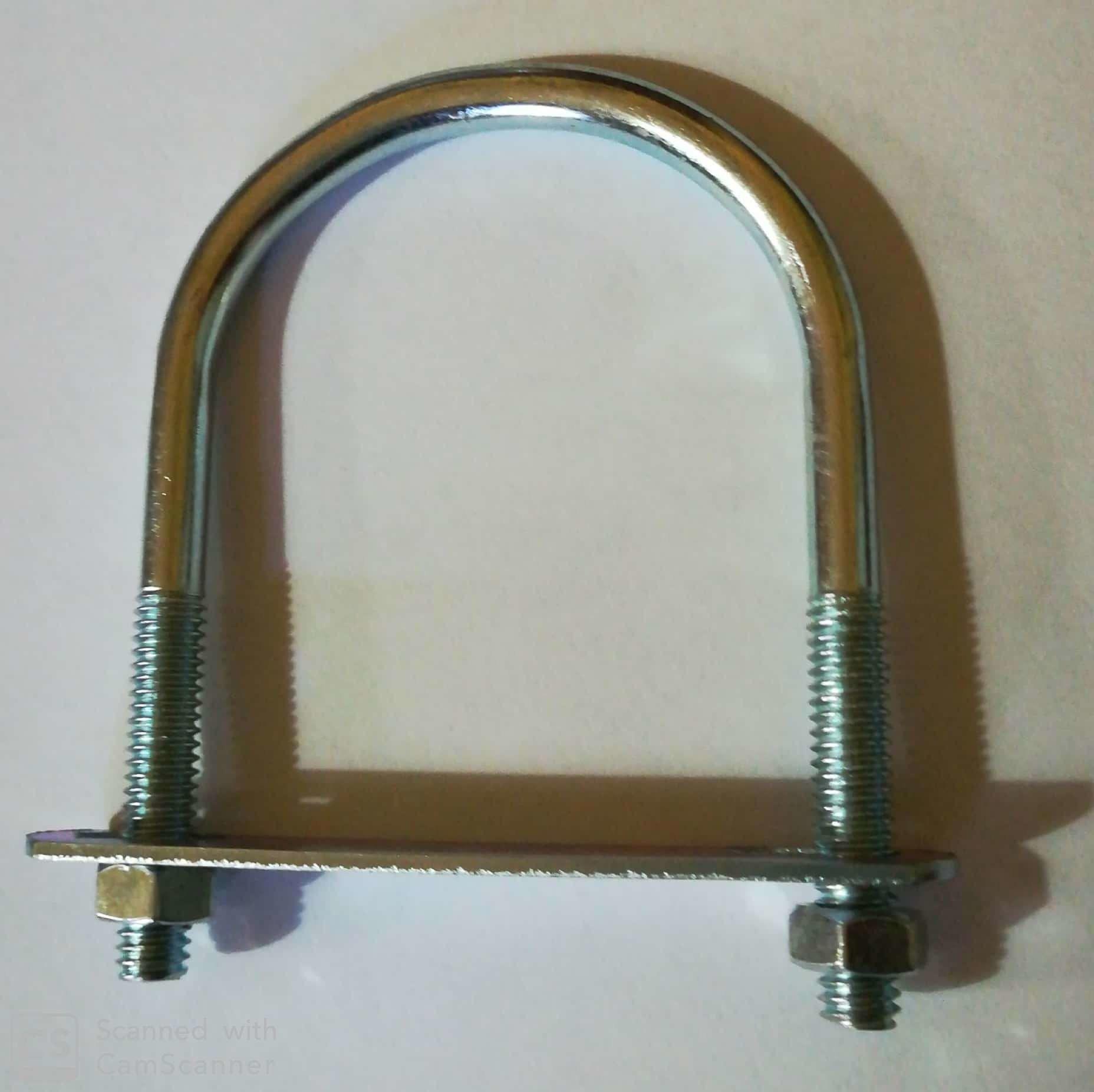 Cavallotto tondo mm 6,9 x 89 con piastra e dadi in ferro zincato
