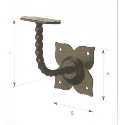Supporto corrimano in ferro a  base piana verniciato nero