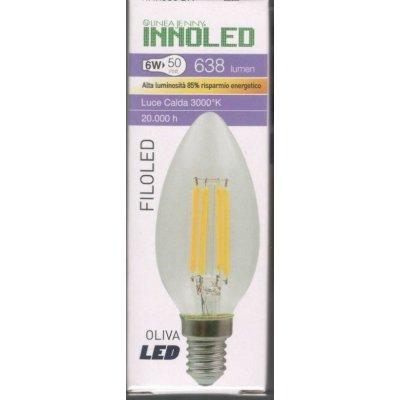 Lampadina FILOLED OLIVA 6w E14 Luce calda 3000K