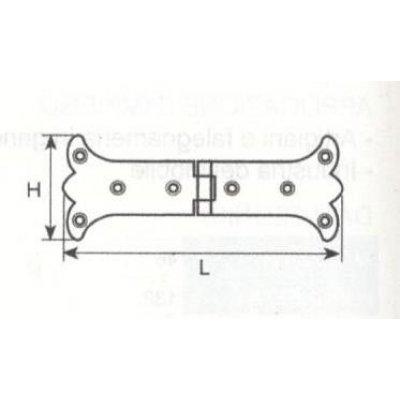 Cerniera mod. RUSTICA in ferro brunito con snodo piano mm 165