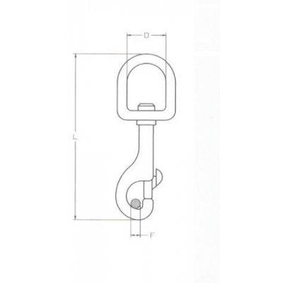 Moschettone per redini mm 25 x 93 girevole in acciaio pressofuso