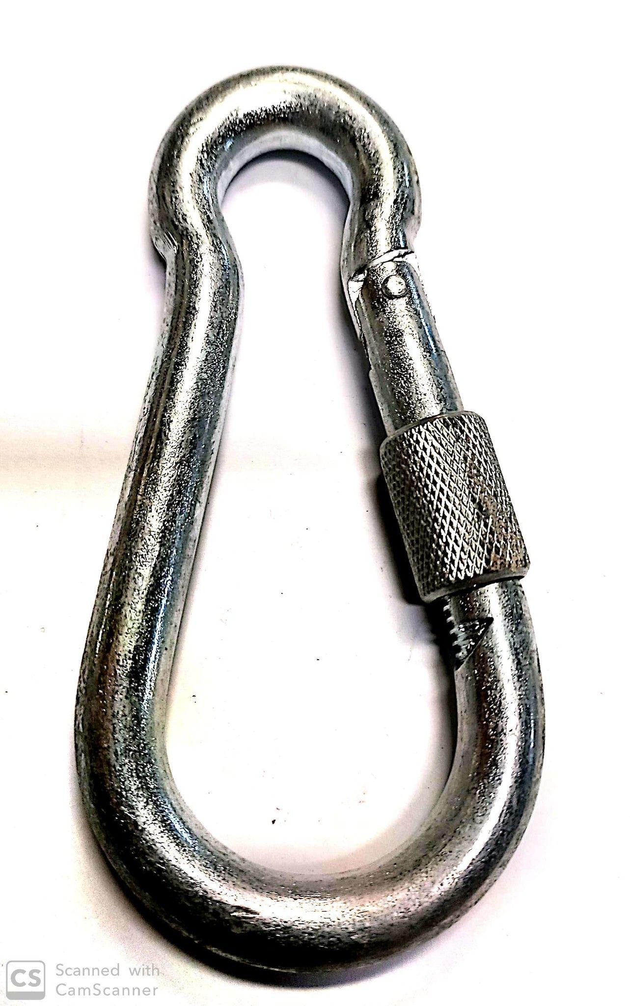 Moschettone pompiere mm 120 con ghiera di sicurezza in acciaio zincato