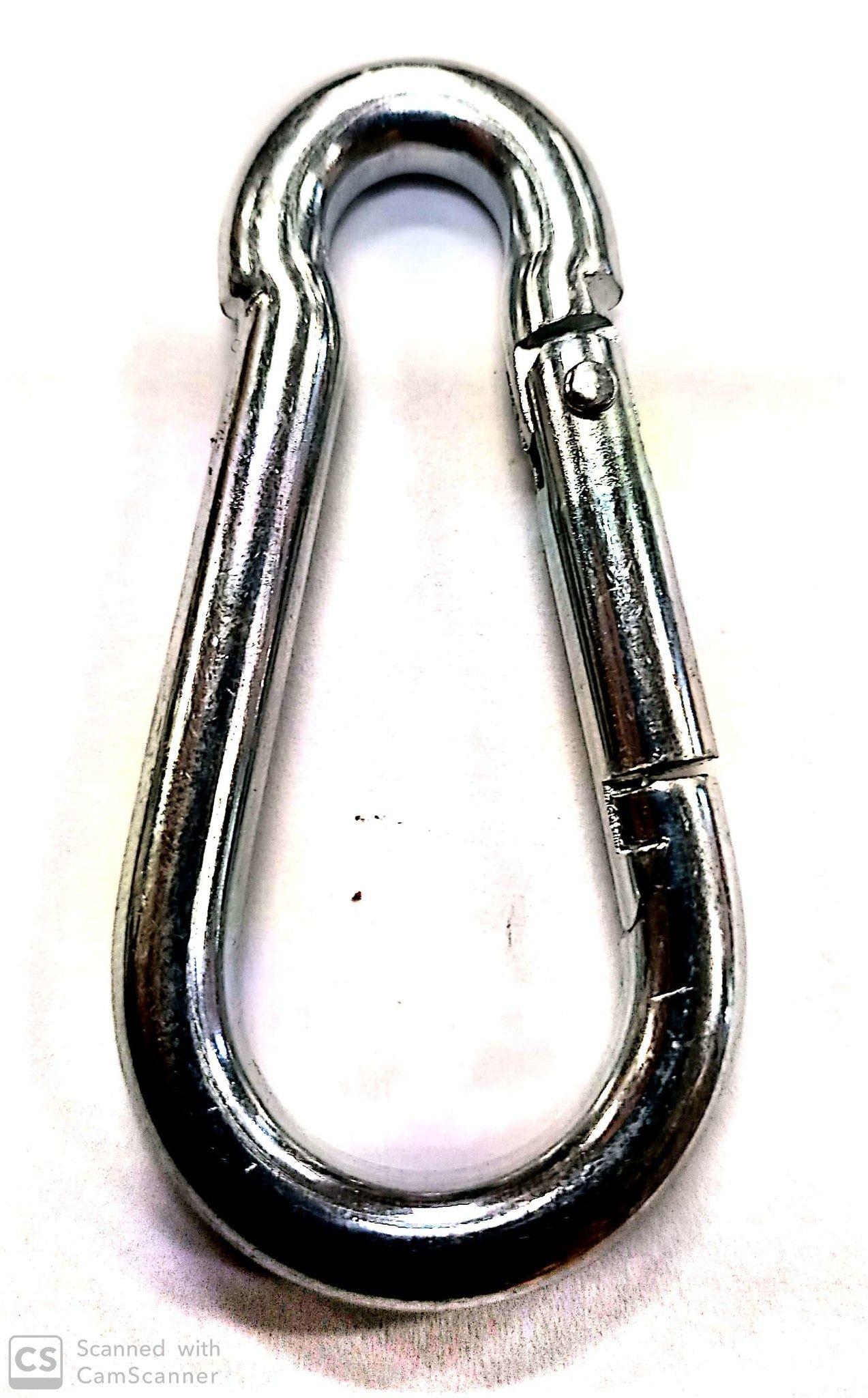 Moschettone pompiere mm  80 x 8 in acciaio zincato DIN 5299