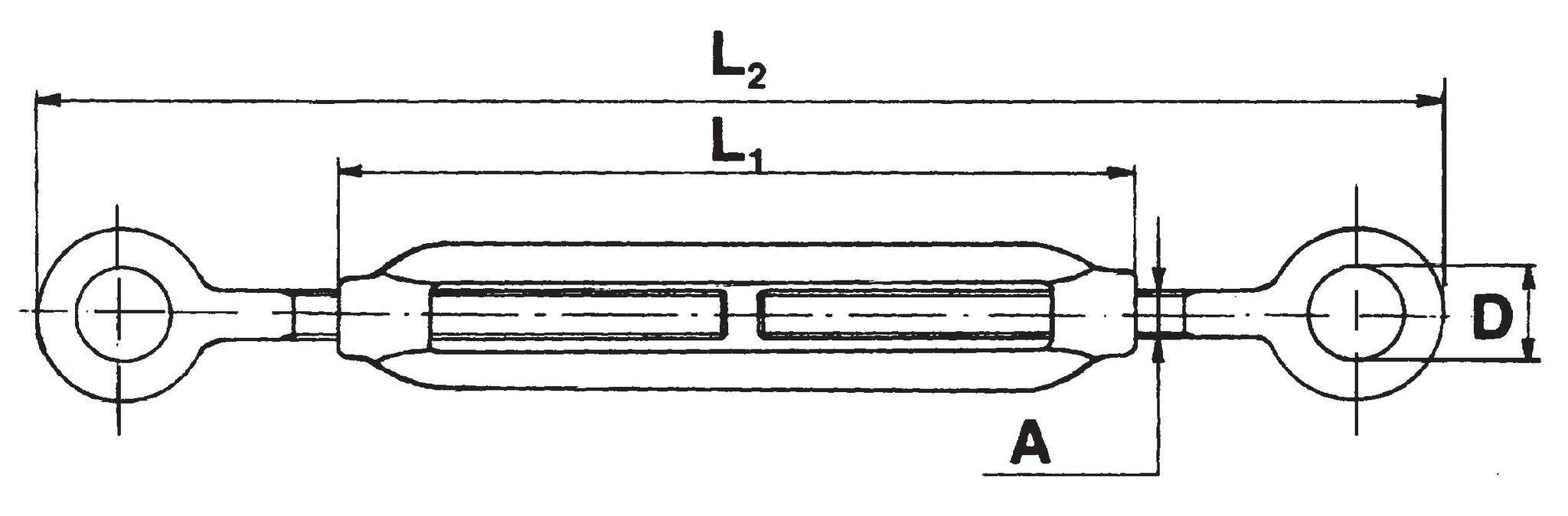 Tenditore a 2 occhi INOX mm 10 AISI 316