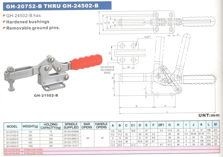 Morsetto pressore orizzontale 190 mm forza Kg 200 modello A/400