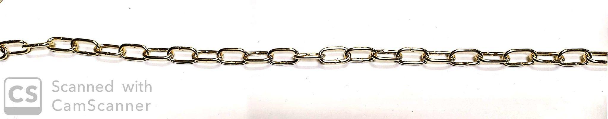 Catena GENOVESE n.14 ottonata anello mm 20,5x10,5 spessore 2,2