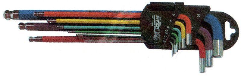 Serie 9 chiavi esagonali brugola CALAMITATE tcce con estremita' sferica