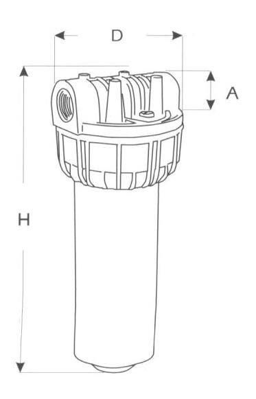 Contenitore portafiltro BIG 10' ( cm 25 ) a cartuccia filetto FF 1'