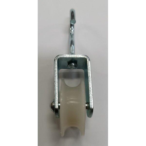 Carrucola nylon mm 40 supporto a gancio aperto in acciaio zincato