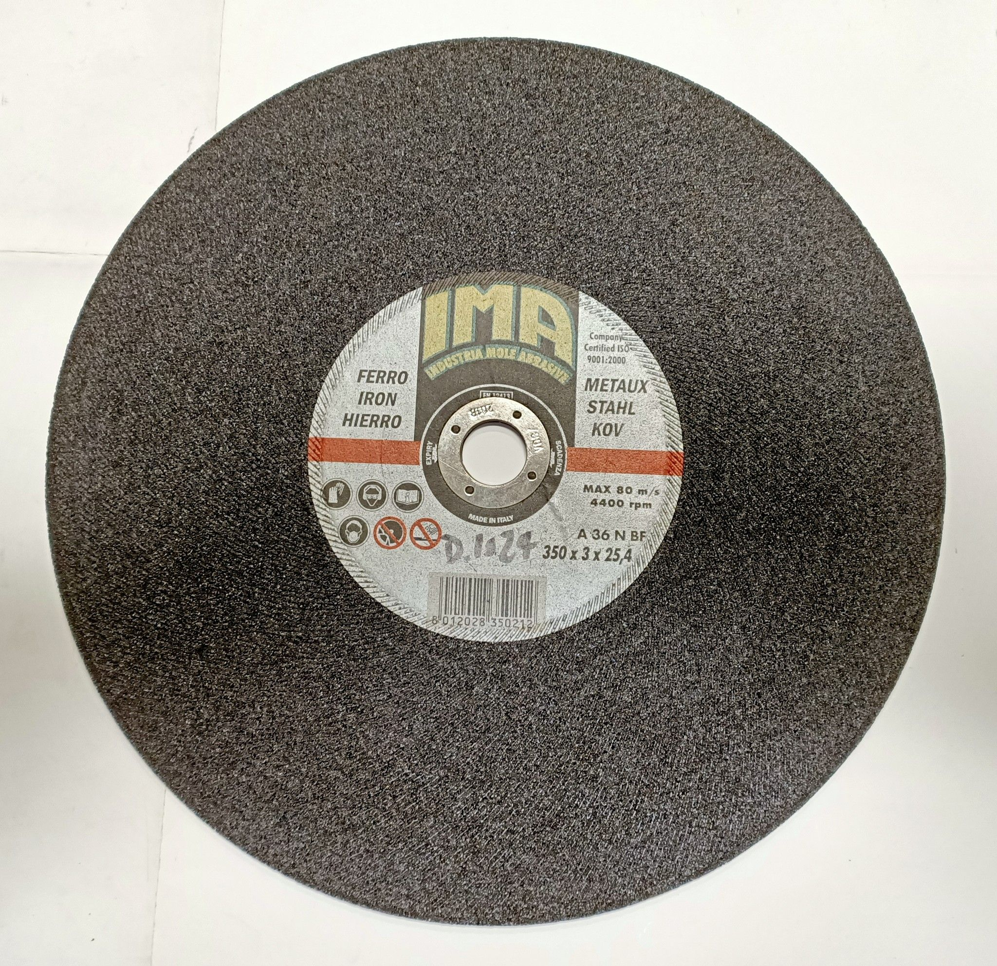 Disco abrasivo per taglio metalli d. 350x3,0 foro 25,4