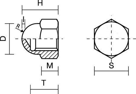 Dado cieco zincato NERO filetto mm  6