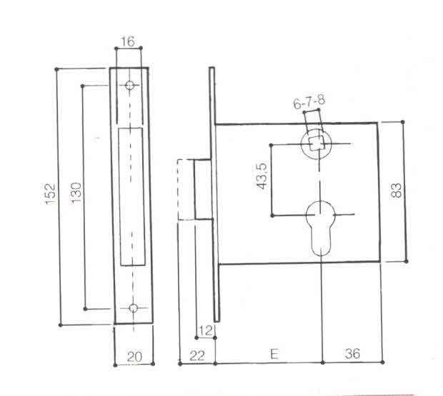 Serratura PREFER 5511 a fascia solo scrocco una mandata incorporata foro sagomato tipo Yale
