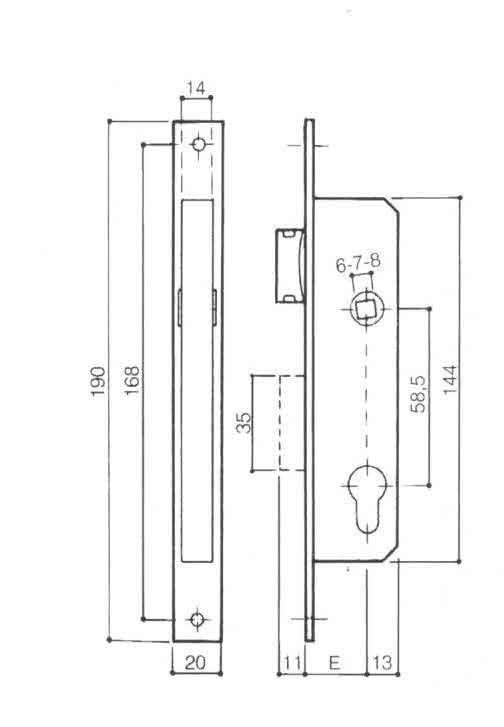 Serratura PREFER 5311-24 da infilare con una mandata e scrocco reversibile foro sagomato tipo Yale
