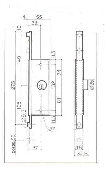 Serratura PREFER 6316 SINISTRA per serrande scorrevoli