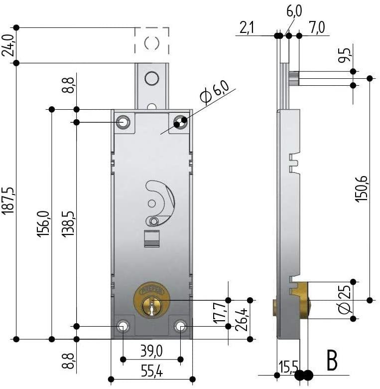Serratura PREFER B511 per basculante/garage a cilindro tondo senza quadro maniglia