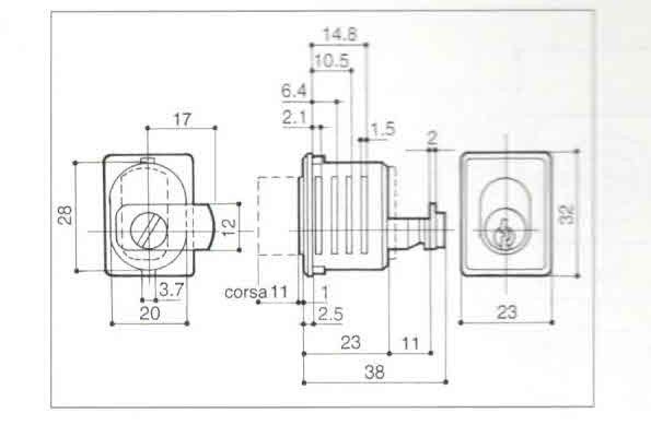 Serratura PREFER 2300 a pulsante per antine scorrevoli montaggio a forcella