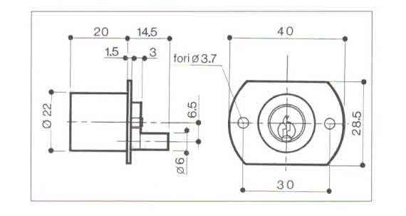 Serratura PREFER 2201 per cassettiere rotazione 180 gradi