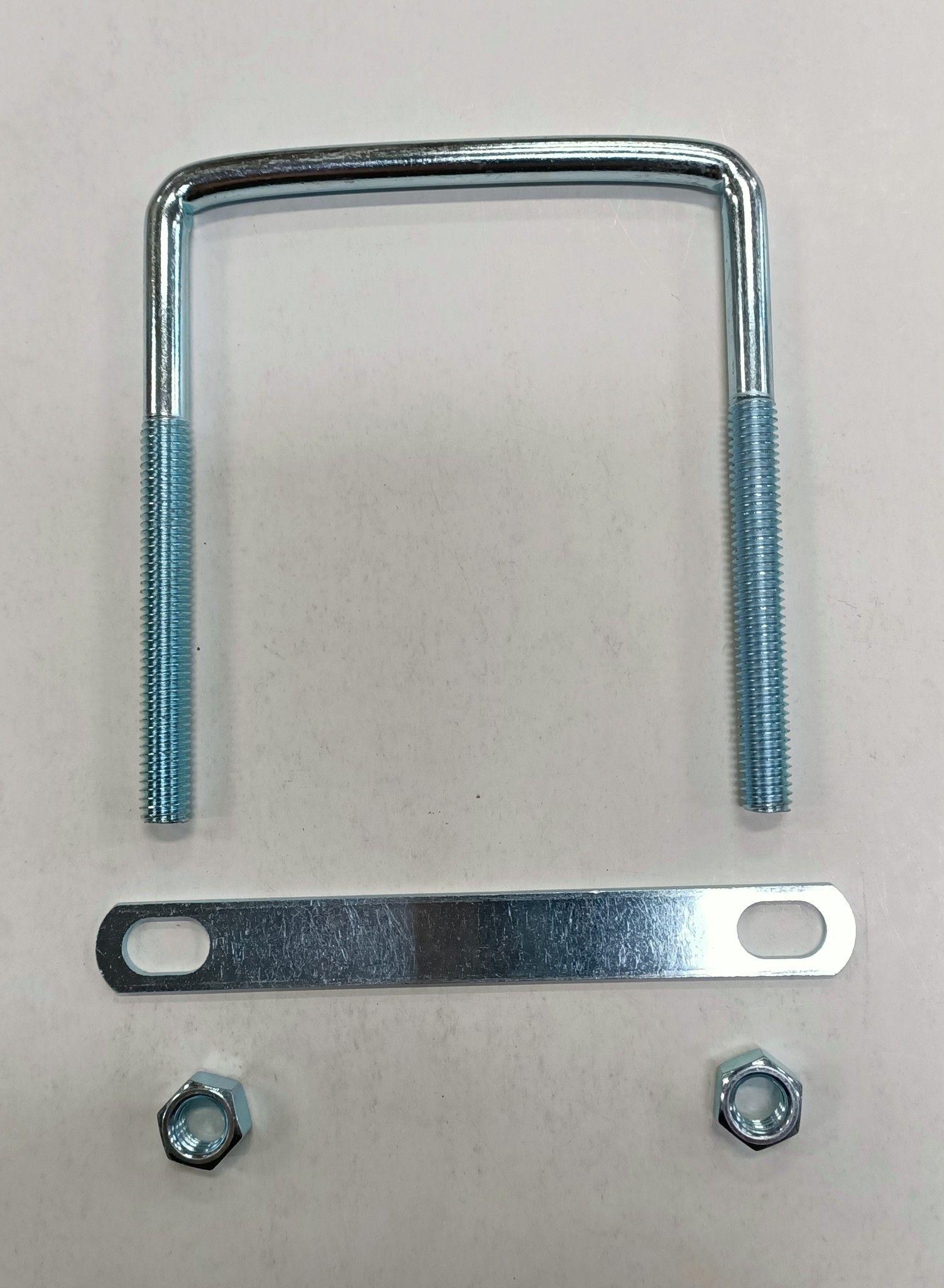 Cavallotto quadro mm 8 x 127 con piastra e dadi in ferro zincato