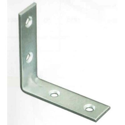 Piastrina angolo INOX cm 4 x 4  spessore mm 1,5 a 4 fori