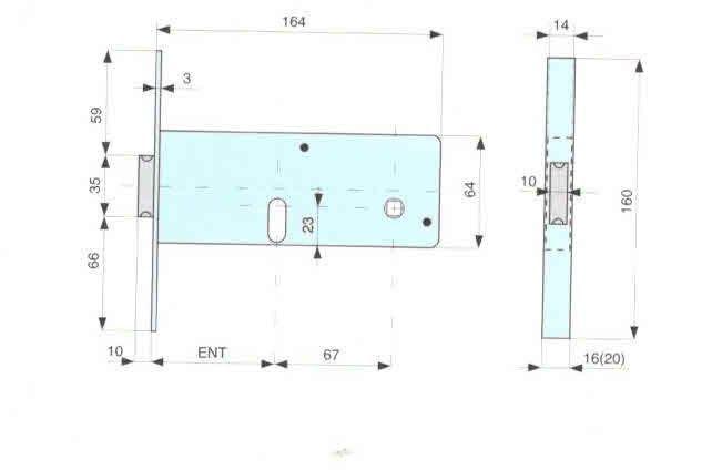 Serratura MG 806701 da infilare per fasce  cil. ovale 2 mandate + scrocco catenaccio ottone