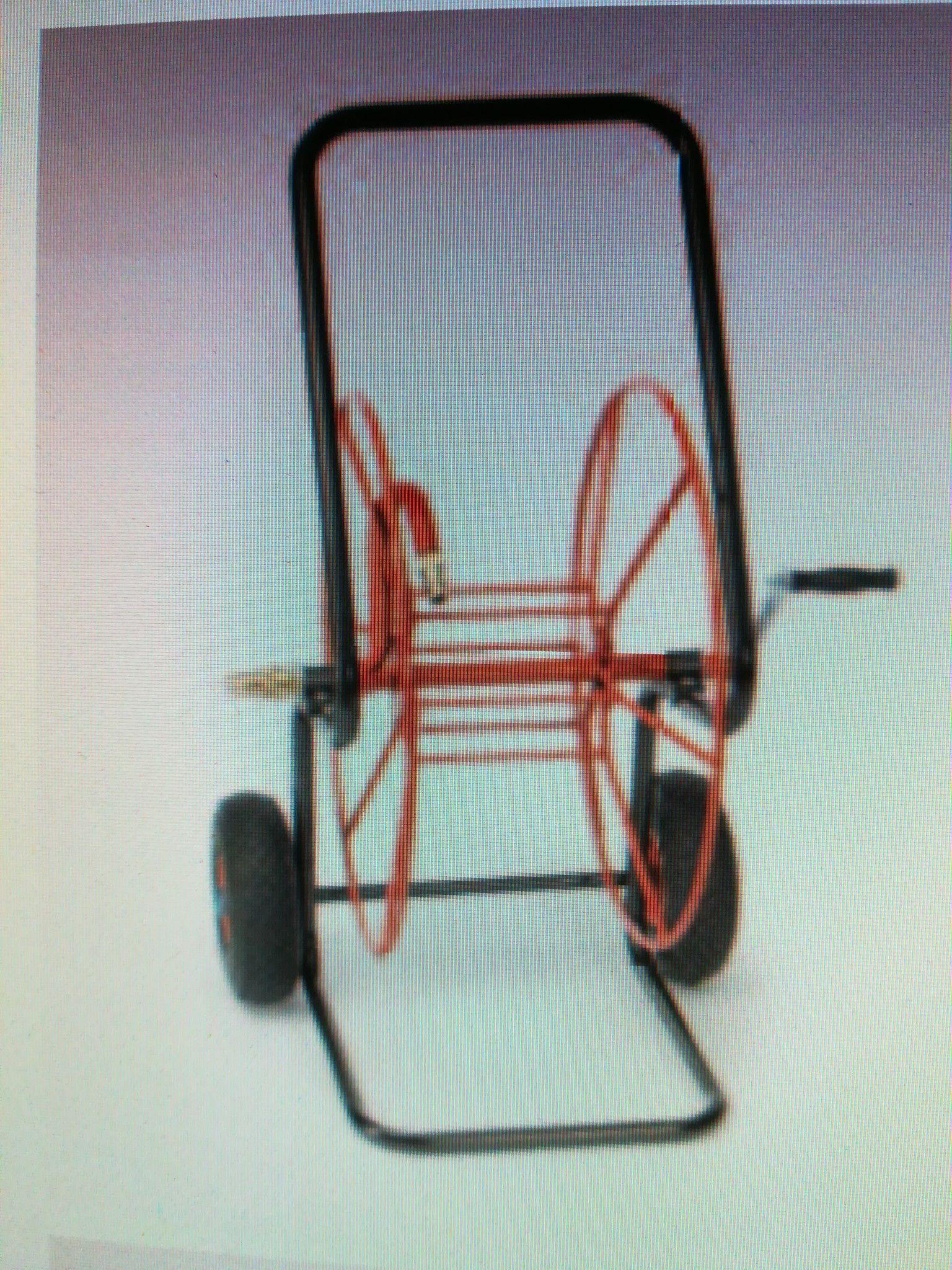 Carrello acciaio verniciato con ruote pneumatiche e raccorderia in ottone