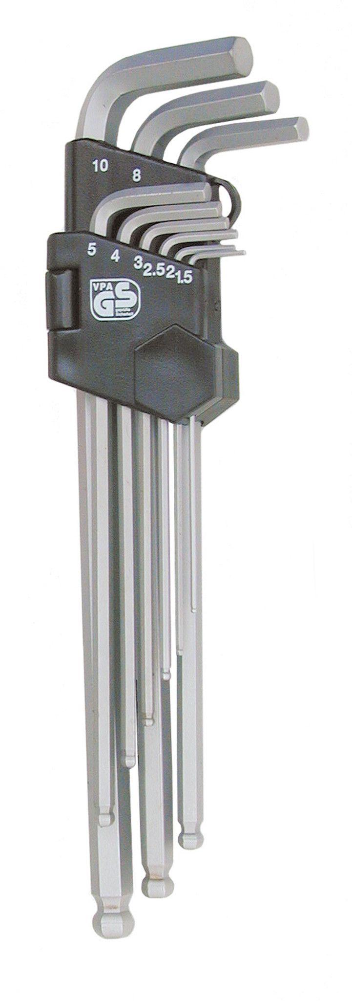 Serie 9 chiavi esagonali brugola tcce con estremità sferica