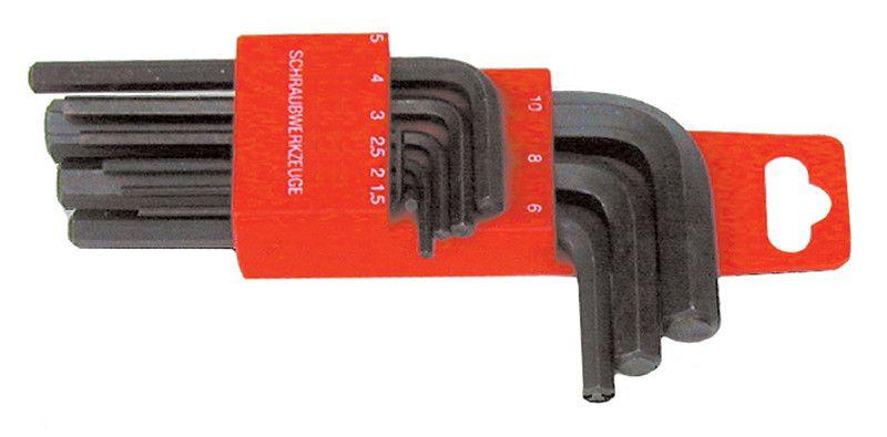 Serie 9 chiavi esagonali misure in pollici brunite