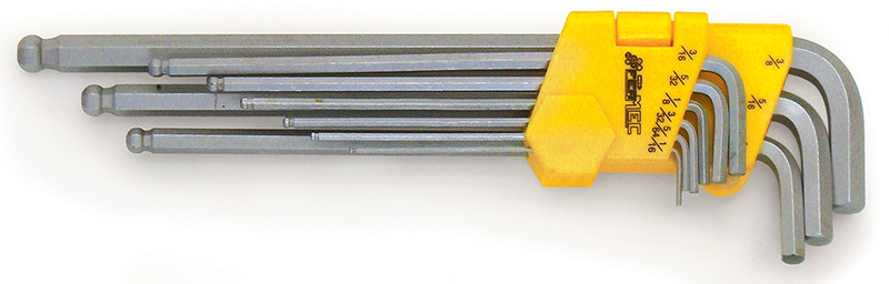 Serie 9 chiavi esagonali tcce con estremita' sferica tipo lungo satinate - misure in pollici FERMEC