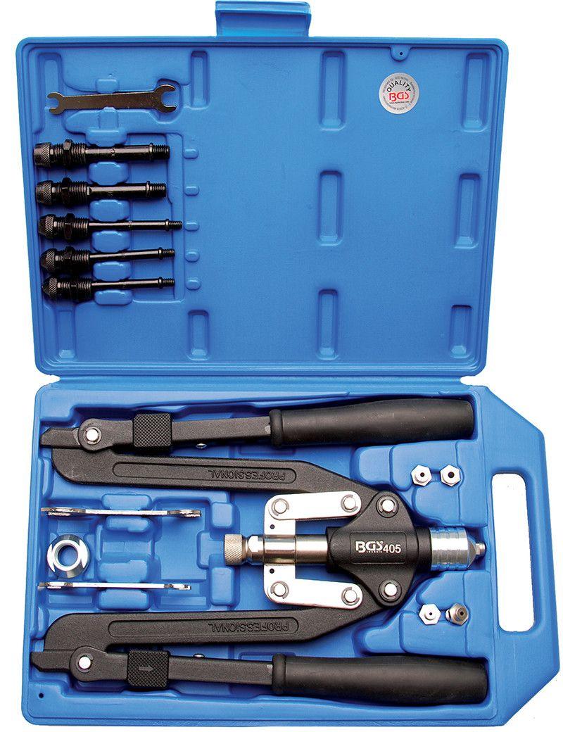 Set rivettatrice professionale a braccio lungo per rivetti e inserti filettati BGS405