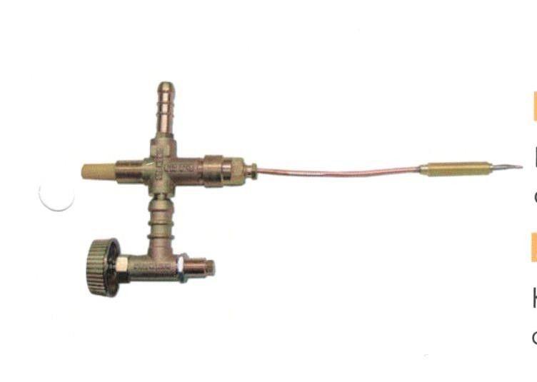 rubinetto con valvola di sicurezza con termocoppia cm 25