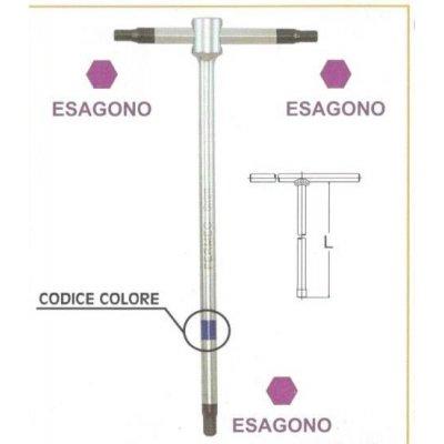 "Chiavi a ""T""  a 3 teste maschio esagonali  mm 5 con asta scorrevole • chrom vanadium FERMEC"