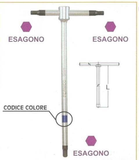 "Chiavi a ""T""  a 3 teste maschio esagonali  mm 6 con asta scorrevole • chrom vanadium FERMEC"