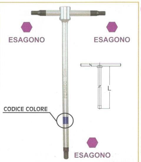 Chiavi a 'T'  a 3 teste maschio esagonali  mm 10 con asta scorrevole • chrom vanadium FERMEC