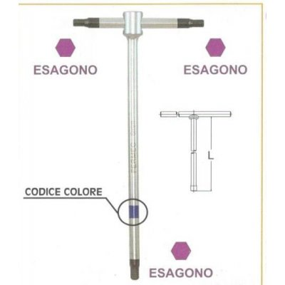 "Chiavi a ""T""  a 3 teste maschio esagonali  mm 10 con asta scorrevole • chrom vanadium FERMEC"