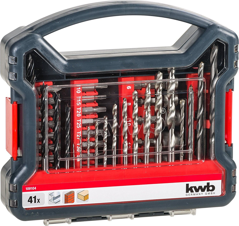 Set 41 pezzi inserti e punte per trapano per metallo pietra e legno KWB 109104