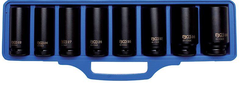 """Cassetta 8 pz bussole a macchina esagonali attacco 3/4"""" BGS 5241"""