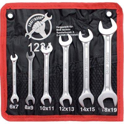 Set 6 pz chiavi fisse a forchetta doppie 6x7-17x19 BGS 1234